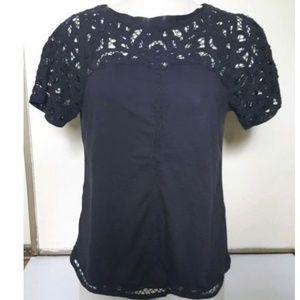 Anthro Vanessa Virginia Crochet Lace Trim Top